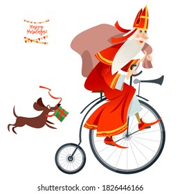 Santa Claus (Sinterklaas) on a vintage bicycle with a bag of gifts. Christmas in Holland. Vector illustration.