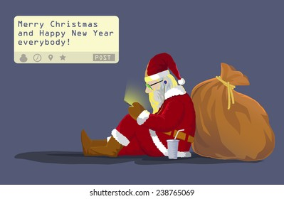 """Santa claus sit on the ground  lean on his gift bag sending a post """" Merry Christmas and Happy New Year everybody!"""" from his mobile phone"""