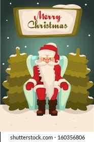 santa claus sitting in armchair , vector illustration
