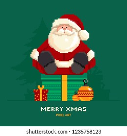 Santa Claus sitting on a box with gifts on a green background with Christmas trees in pixel style.