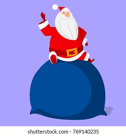 Santa Claus sitting on top of the huge sack. Vector image drawn in flat style