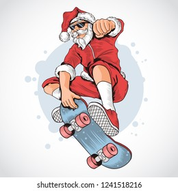 SANTA CLAUS SKATEBOARD VECTOR