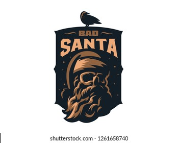 Santa Claus with a skull. A raven sits on a badge. It's snowing in the back. Vector illustration.