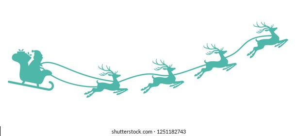 Santa Claus with sled and reindeers isolated on white background