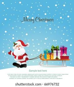 Santa Claus and  sleigh.