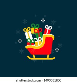 Santa Claus sleigh flat design elements,Santa Claus sleigh icon,Vector and Illustration.