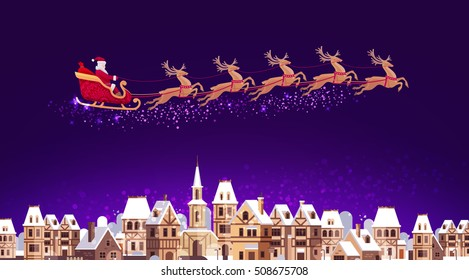 Santa Claus in sleigh pulled by reindeer flying over city. Christmas vector