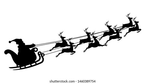Santa Claus in a sleigh. Reindeer and sleigh. Merry Christmas.