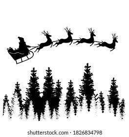 Santa Claus in a sleigh. Reindeer and sleigh. Merry Christmas. Santa Claus flying in a sleigh with reindeer. Silhouette, skys.Christmas and New Year.Vector illustration.
