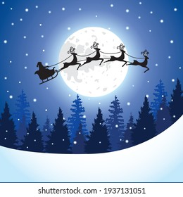 Santa Claus with sleigh and reindeer silhouette on a big full moon in the pine forest