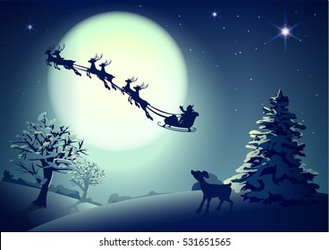Santa Claus in sleigh and reindeer sled on background of full moon in night sky Christmas. Vector illustration for greeting card