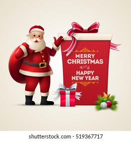 Santa Claus smiling and show huge gift box. Merry Christmas and Happy New Year text on the box. Christmas vector illustration.