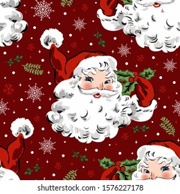 Santa Claus with snowflake and holly, vintage style pattern. Cute seamless Christmas holidays cartoon character background. Separate elements.