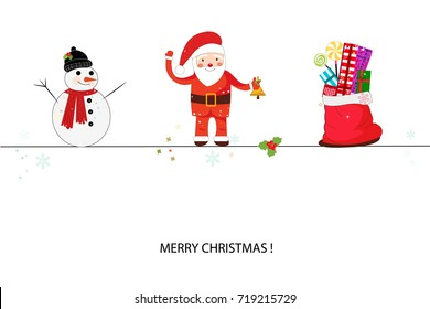 Santa claus, snowman and gift box. Merry Christmas and happy new year greeting card