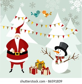Santa Claus and snowman illustration celebrating Christmas with gifts in a snowy background.  Vector file available.