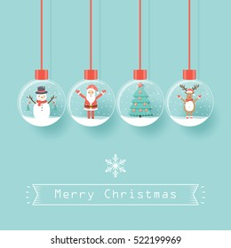 Santa Claus, snowman, reindeer and Christmas tree in snow globes hanging on dark background.