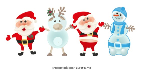 Santa claus, snowman and reindeer and deer on white background. Christmas holiday. Winter cartoon cute card, Merry christmas banner. Vector illustration