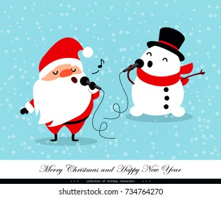 Santa Claus and Snowman sing. Emotional Christmas and New Year's characters. Humorous xmas collection. Good for congratulation card, banner, flayer, leaflet, poster. Vector illustration