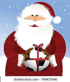 Santa Claus with soccer ball