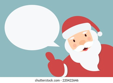 Santa Claus with speech bubble  and hand thump up vector