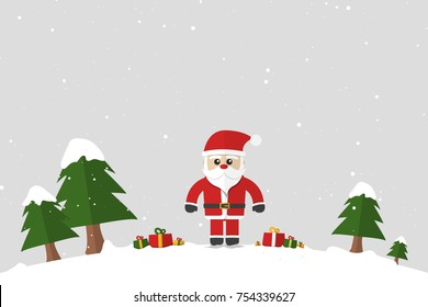 Santa Claus standing by side have gift boxes on snow floor , Concept Christmas Holiday, Happy New Year, Flat design Vector illustration