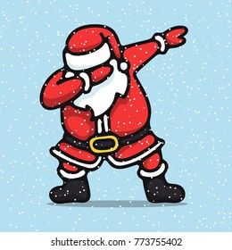 Santa claus, standing, dancing, making dab move, dabbing. Christmas party. Vector illustration on.