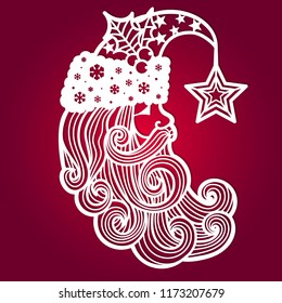 Santa Claus with a star. The template for laser cutting. It is suitable for drawing greeting cards, invitations, decorative elements of the interior. Vector