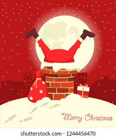 Santa Claus stuck in the chimney in the Christmas moon night. Merry christmas red comic card