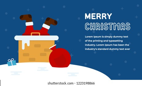Santa Claus Stuck in the Chimney with Gift Bag Merry Christmas Greeting Card Flat Vector Illustration. Happy New Year Flat Style Invitation