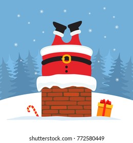 Santa Claus was stuck in the chimney with gifts. Vector illustration of a postcard.
