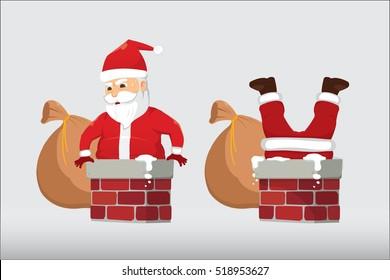 Santa Claus Stuck In The Chimney Isolate. Christmas Cartoon Vector Illustration.