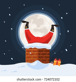 Santa Claus stuck in the chimney on the background of the full moon. The concept of Merry Christmas. Vector illustration in cartoon style