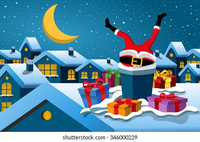 Santa Claus stuck in the chimney upside down at christmas night