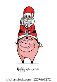 Santa Claus in a suit, with a bag of gifts sitting astride a cute pig. New year. Greeting card. Vector illustration