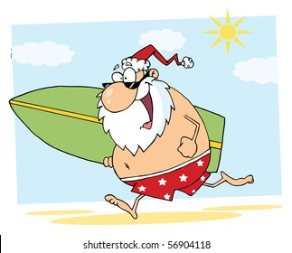 Santa Claus Surfer Mascot Cartoon Character