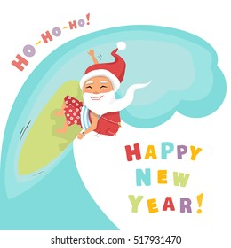 Santa Claus surfing with gifts and rolling on the wave.Vector cartoon Santa isolated on a white background in flat style.Merry Christmas Happy New Year greeting card.