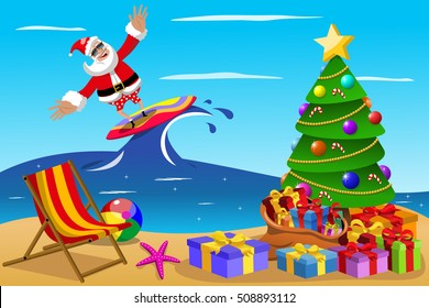 Santa Claus surfing in tropical sea at xmas time