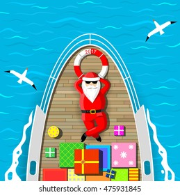 Santa Claus is swimming on a yacht lying on the deck with a bunch of gift boxes. Sea waves and seagulls around. Vector graphics.
