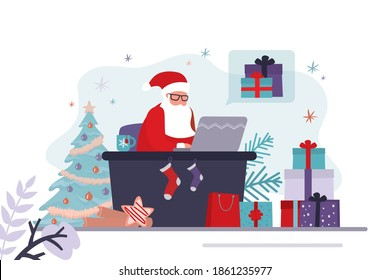 Santa Claus takes orders for gifts online. Father Christmas sits at workplace and works. Different gift boxes in santa's office. Concept of online shopping and working. Trendy flat vector illustration