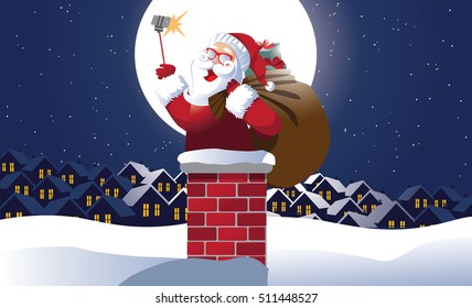 Santa Claus taking a Christmas selfie as he's about to go down the chimney to deliver Christmas gifts. EPS 10 vector.