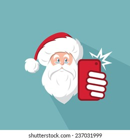 Santa Claus taking photo of himself by his phone - vector illustration