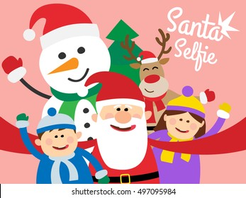santa claus taking selfie with christmas deer  snowman and children