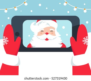 Santa Claus Taking Selfie Photo with Phone