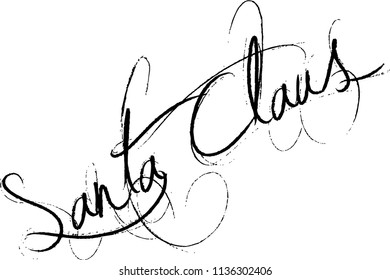 Santa Claus Text sign illustration on white background