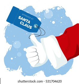 Santa Claus Thumbs up approval sign with price tag. Approved by Santa. Shopping concept. Vector flat illustration