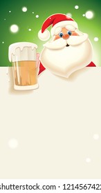 Santa Claus toasted with beer mug next to blank white signboard isolated on a green sparkle background