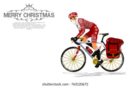 Santa Claus is touring with his bicycle on transparent background