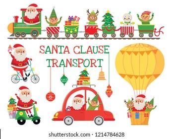 Santa Claus transport. Set with funny bike, car, scooter , train and air hot balloon. Santa, elf and deer. Vector illustration