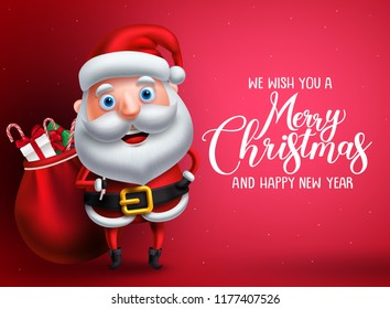 Santa claus vector character with merry christmas greeting text in red background. Santa claus carrying bag of gifts and surprise for christmas season. Vector illustration.