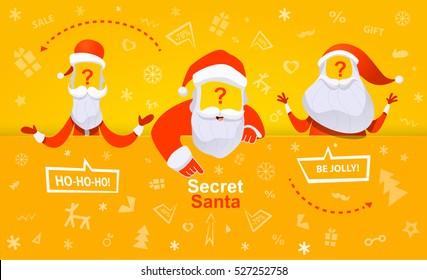Santa Claus vector illustration. Secret santa banner. Three  secret Santa.